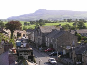 Burton in Lonsdale, Yorkshire Ingleborough Hill overlooks the High Street